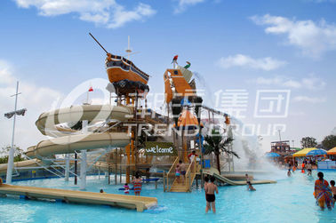 चीन Colorful Outdoor Water Parks with Fiberglass Water Slides 29 x 27m Space आपूर्तिकर्ता