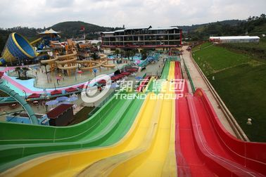 चीन Multi Lanes Rainbow FRP Custom Water Slides In An Amusement Park Water Slide फैक्टरी
