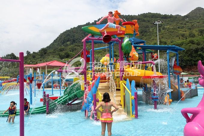Fiberglass Kids' Water Playground inside water parks with water pump / Customized Water Slide